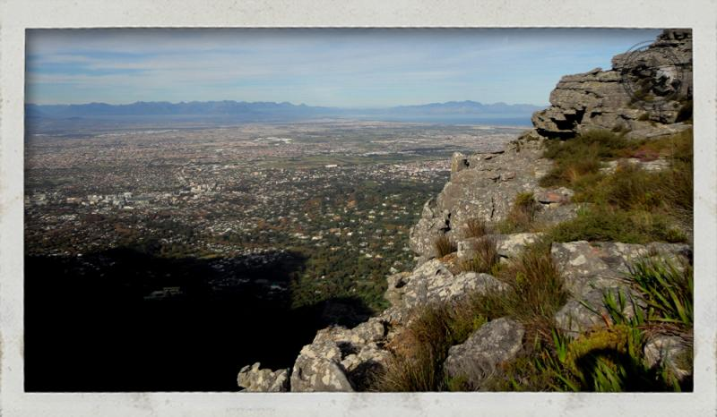 View of Cape Town suburb from Table Mountain Squeleton gorge